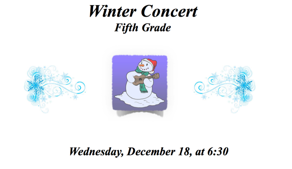 Winter Concert Fifth Grade