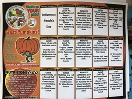 Lunch Menu for 10/13-10/30