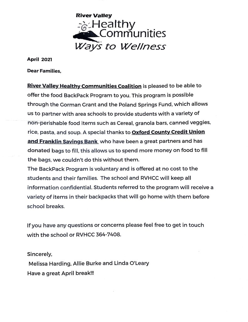 River Valley Health Communities Coalition Letter to families.