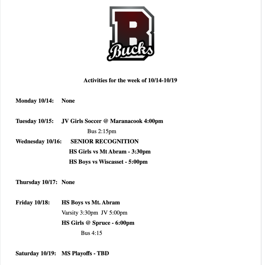 Athletic Schedule 10/14-10/19